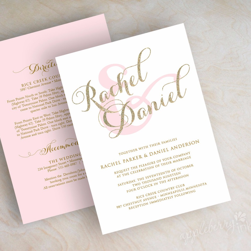 Gold glitter sparkle wedding invitation pink and gold wedding
